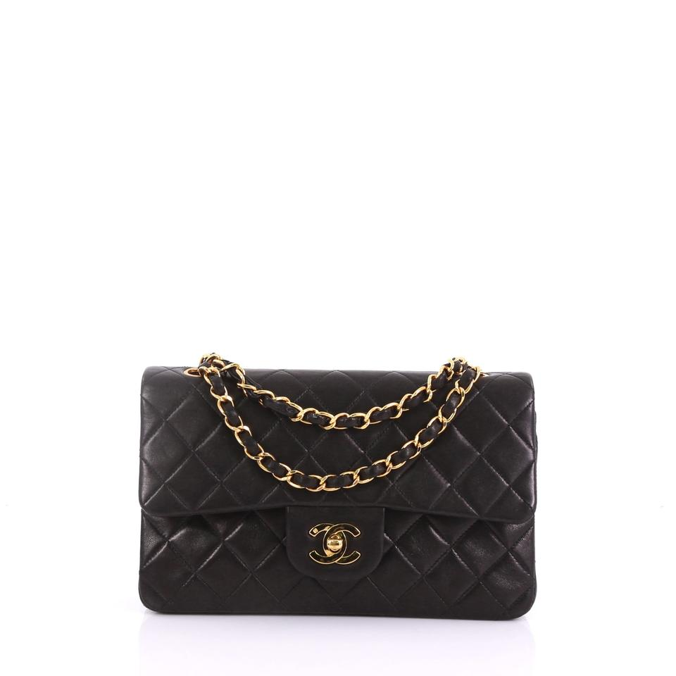 98016c4f6aa36 Chanel Classic Flap Vintage Classic Double Quilted Small Black Lambskin  Shoulder Bag