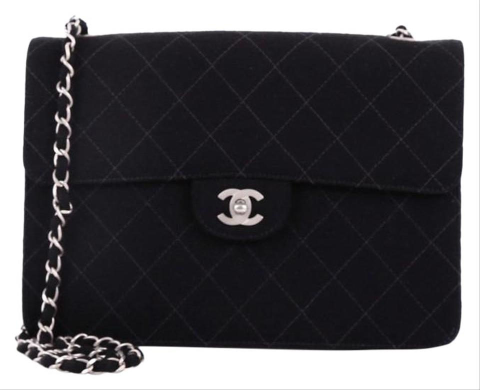8fae6f85722b Chanel Classic Flap Vintage Cc Chain Quilted Medium Black Jersey Shoulder  Bag