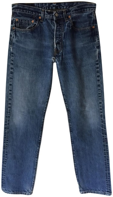 Item - Blue Distressed 501 Button Fly Relaxed Fit Jeans Size 33 (10, M)