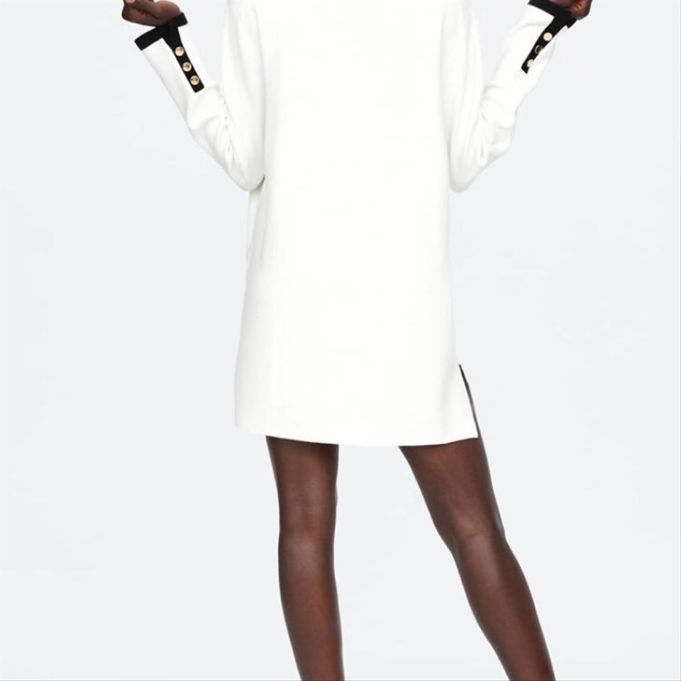 a846df68afa Zara White Black Cardigan with Vents V-neck Long Short Casual Dress ...