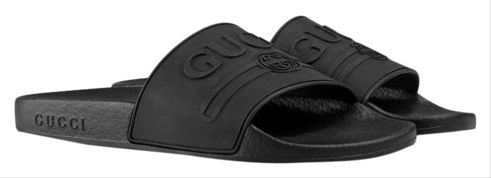 7cab87503 Gucci Black Logo Embossed Rubber Slides Sandals Size EU 37 (Approx ...