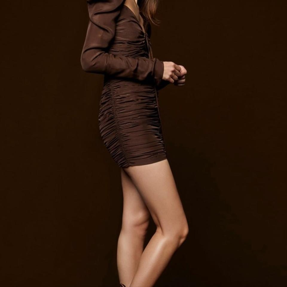 942acb08 Zara Brown With Ruching Short Night Out Dress Size 4 (S) - Tradesy