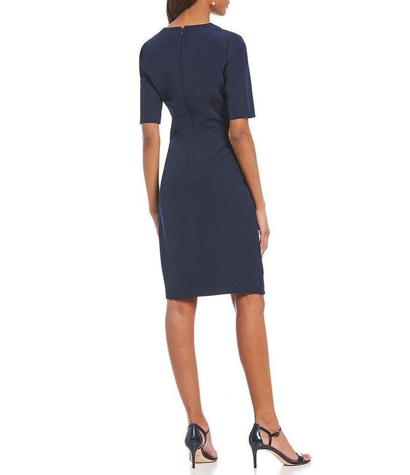 2041cdd6 Maggy London Navy Blue Solid Dream Crepe Sheath Mid-length Work/Office  Dress Size 2 (XS) - Tradesy