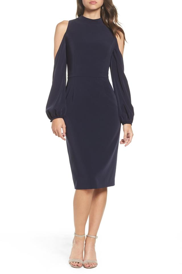 Maggy London Navy Blue Cold Shoulder Midi Mid Length Cocktail Dress
