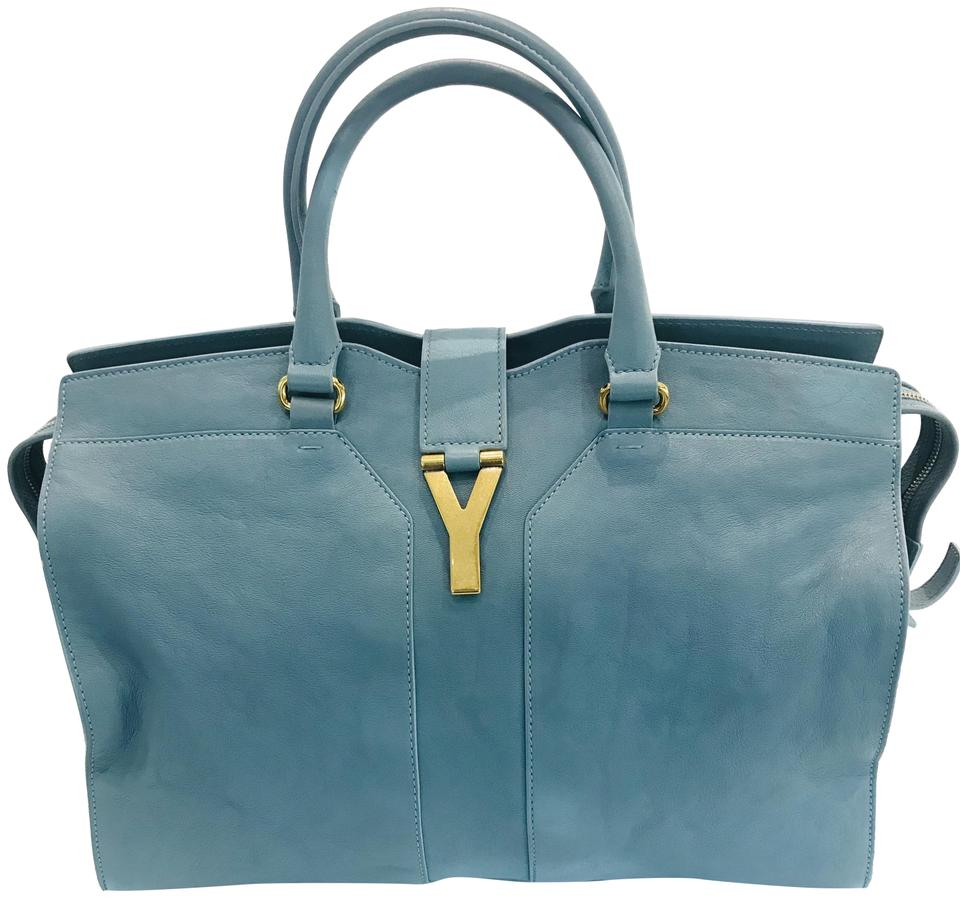 240474d27c3 Saint Laurent Y ChYc Large Cabas Blue Leather Tote - Tradesy