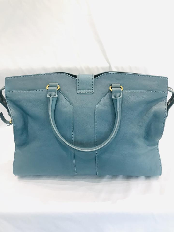 65d744dde480 Saint Laurent Y ChYc Large Cabas Blue Leather Tote - Tradesy
