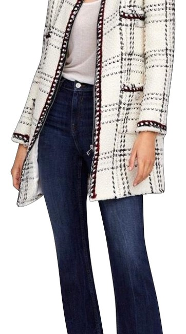 Item - White/Multicolored Plaid with Stripes Coat Size 12 (L)