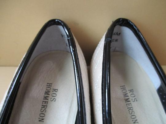 Ros Hommerson Black Patent Quilted Rubber Sole Bow Cream Flats Image 3
