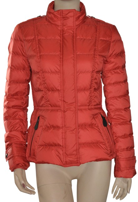Burberry Red Womens Quilted Puffer Down Jacket Medium Coat