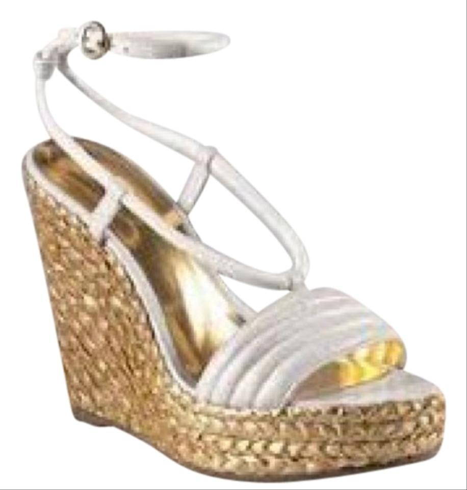6d4d70f3f28 Coach White Leather ~ Blanch ~ Metallic Gold Braided Platform ...