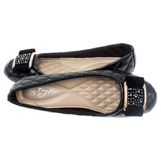 Victoria K Pumps Wedge Bow Bucke Black Flats Image 3