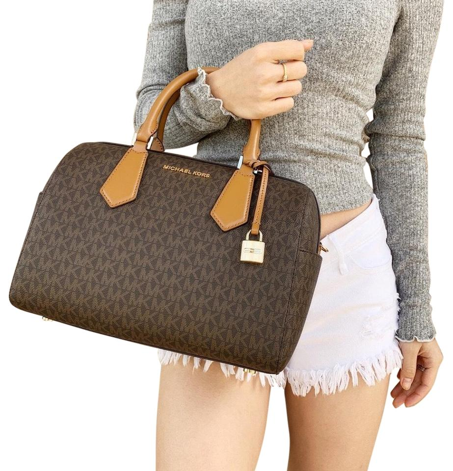 addc05b5ccef Michael Kors Hayes Large Duffle Mk Signature Brown Leather Satchel ...