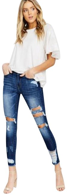 Preload https://img-static.tradesy.com/item/24768533/blue-dark-rinse-usa-3-distressed-stretchy-denim-kc5056d-skinny-jeans-size-25-2-xs-0-3-650-650.jpg