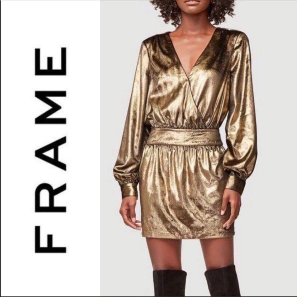 2223a9b05 FRAME Gold Metallic Velvet Mini Short Night Out Dress Size 4 (S ...