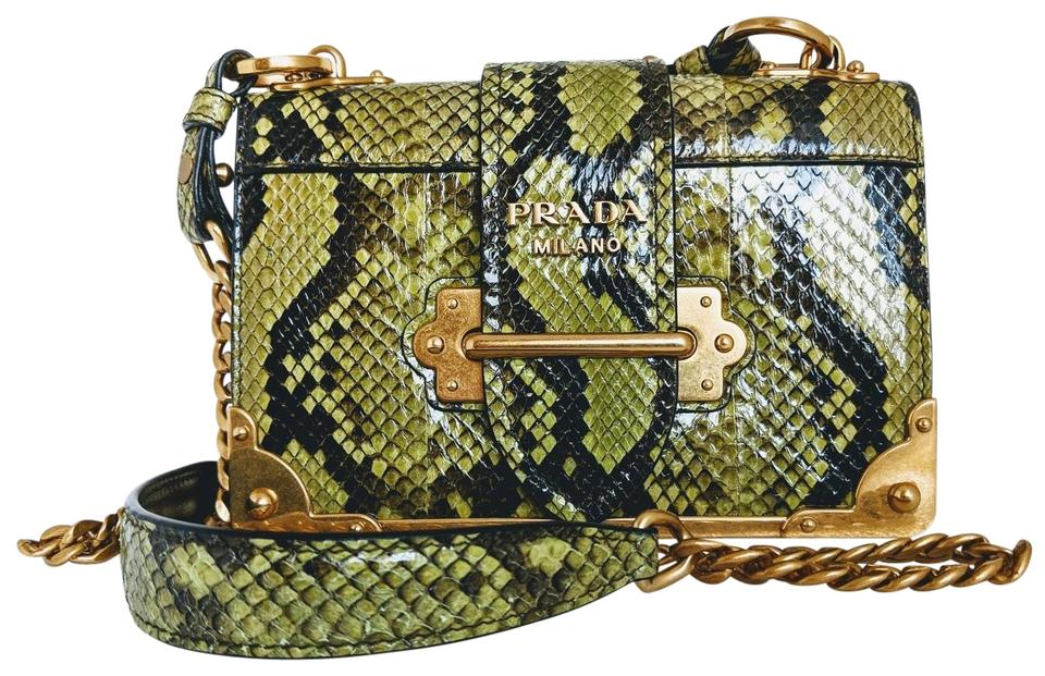 3ad6c4cbae Prada Cahier Notebook Shoulder Black   Green Print Snakeskin Leather ...