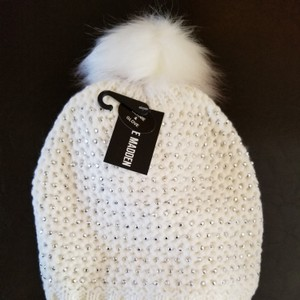Steve Madden Faux Fur Pompom Studded Knit Hat and Gloves