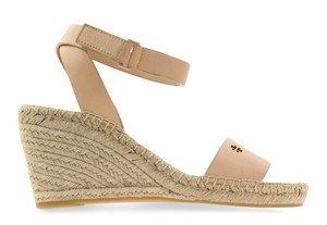 Tory Burch Crisscross Strap Log Bima 2 Bima Ankle Strap Beige Sandals