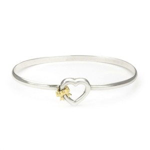 d59aa5e1b Tiffany & Co. 1990 Sterling 18k Yellow Gold Heart & Bow Hook Bangle