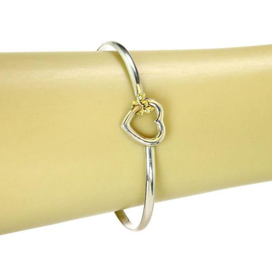 Tiffany & Co. 1990 Sterling 18k Yellow Gold Heart & Bow Hook Bangle Image 1