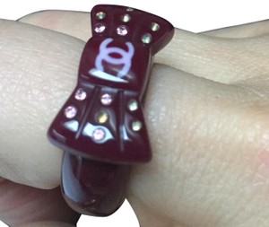 CHANEL CHANEL Purple CC Logo Bow Ring with Multi colored sparkly rhinestones