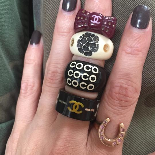 CHANEL CHANEL Purple CC Logo Bow Ring with Multi colored sparkly rhinestones Image 2
