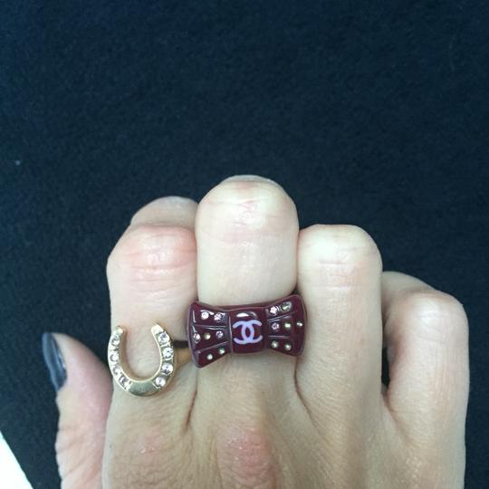 CHANEL CHANEL Purple CC Logo Bow Ring with Multi colored sparkly rhinestones Image 3
