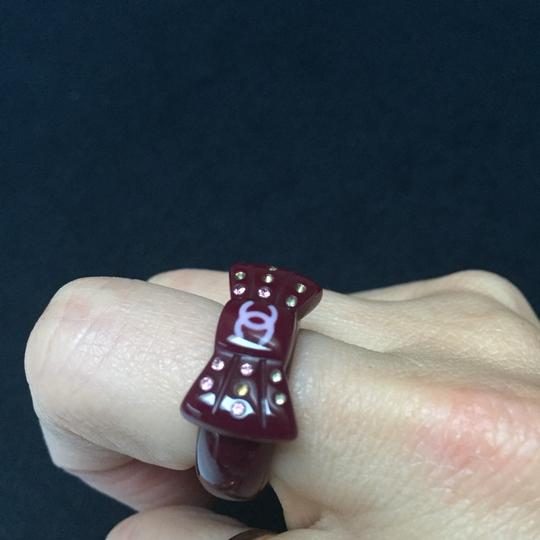 CHANEL CHANEL Purple CC Logo Bow Ring with Multi colored sparkly rhinestones Image 5