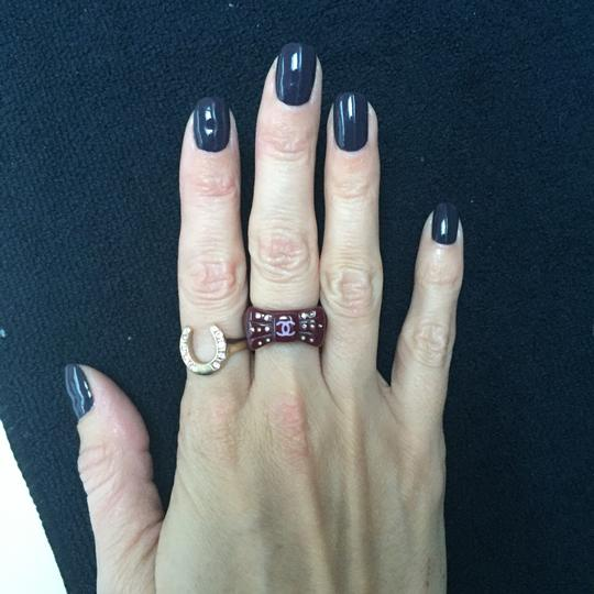 CHANEL CHANEL Purple CC Logo Bow Ring with Multi colored sparkly rhinestones Image 6