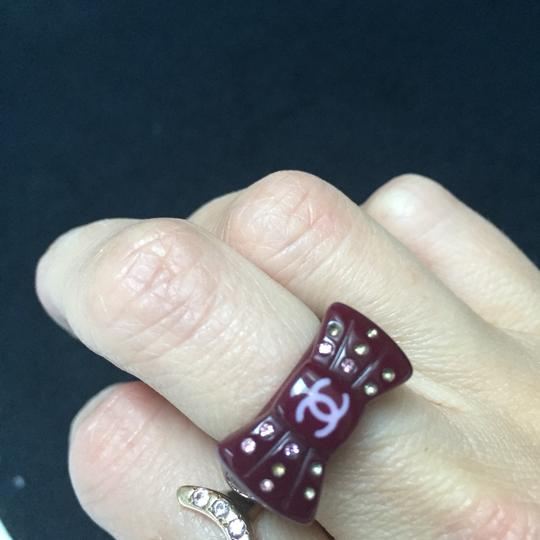 CHANEL CHANEL Purple CC Logo Bow Ring with Multi colored sparkly rhinestones Image 7