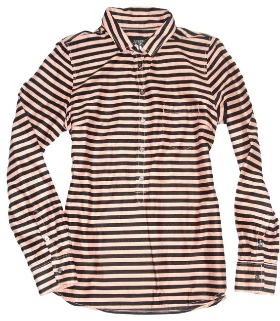 Item - Beige Black Striped Button Neck Long Sleeve Shirt M Blouse Size 10 (M)