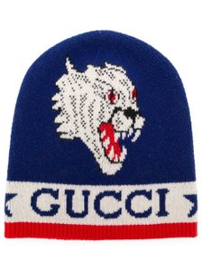 13a17757265 Gucci Blue multicolor Gucci GG logo Tiger printed knit beanie L