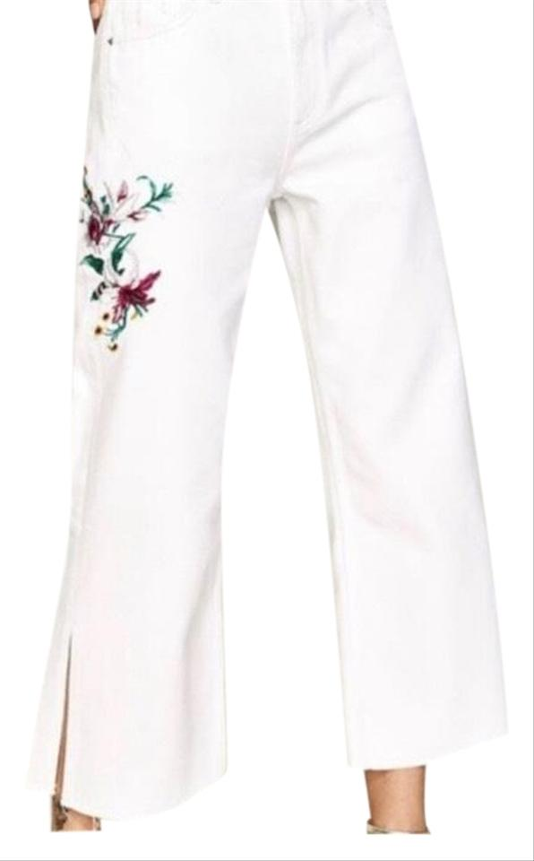 cf8e91cd95 Zara White Embroidered Trouser/Wide Leg Jeans Size 4 (S, 27) 52% off retail
