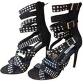 Cape Robbin High Heel Sandals Studded Strappy black & Silver Studs Formal