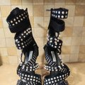 Cape Robbin High Heel Sandals Studded Strappy black & Silver Studs Formal Image 3