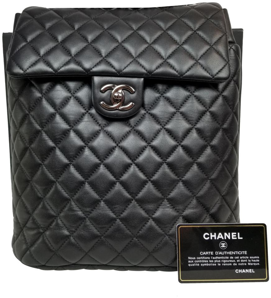 62299ef935b1 Chanel Drawstring Large Urban Spirit Black Lambskin Leather Backpack ...