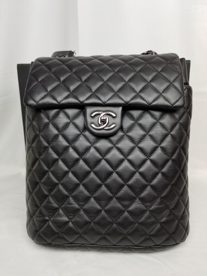 2750b1d920f0 Chanel Drawstring Large Urban Spirit Black Lambskin Leather Backpack -  Tradesy
