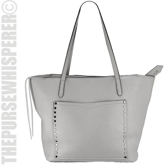Rebecca Minkoff Unlined Pocket Pocket Studs Gray / Pebbled Leather Tote in Putty Image 11