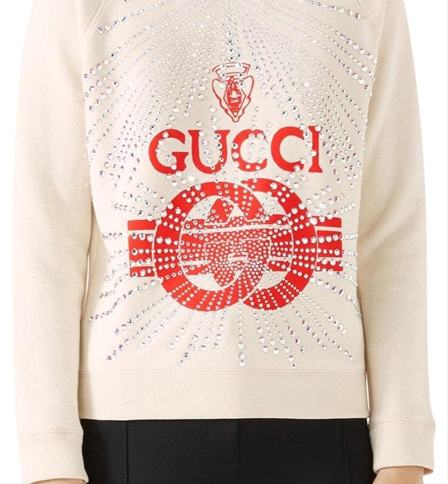 e7c70e6ac879 Gucci White and Red Crest Embellished Sweatshirt/Hoodie Size 12 (L ...