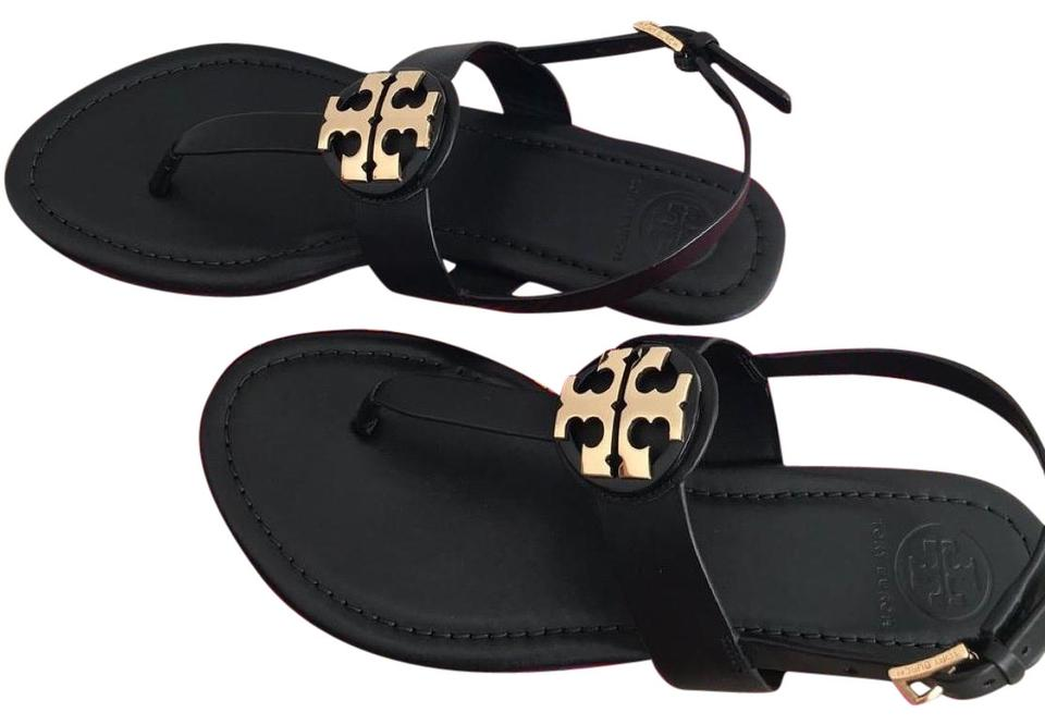 f987371c009 Tory Burch Black Black Gold Bryce Flat Sandals Size US 9 Regular (M ...