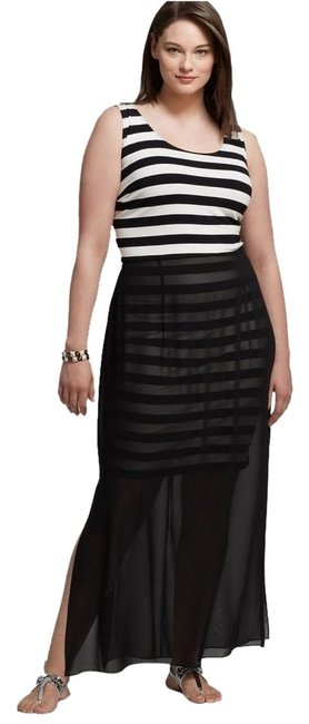 Item - Black / White W And Striped Top W/Chiffon-overlay Long Casual Maxi Dress Size 20 (Plus 1x)