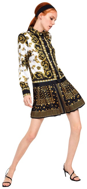 Item - Gold Chain Print Short Casual Dress Size 2 (XS)