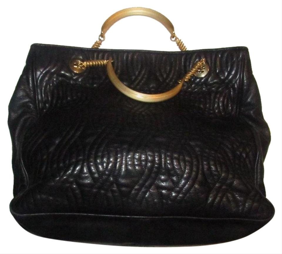 38d6fb511aa2 Fendi Rare Early Excellent Vintage Pasta Noodle Leather Gold Satchel in  supple black quilted ...