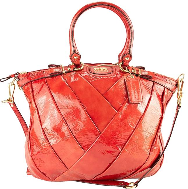 Item - Madison Diagonal Pleated Lindsey 21299 Punch (Red / Pink / Mauve) Patent Leather Satchel