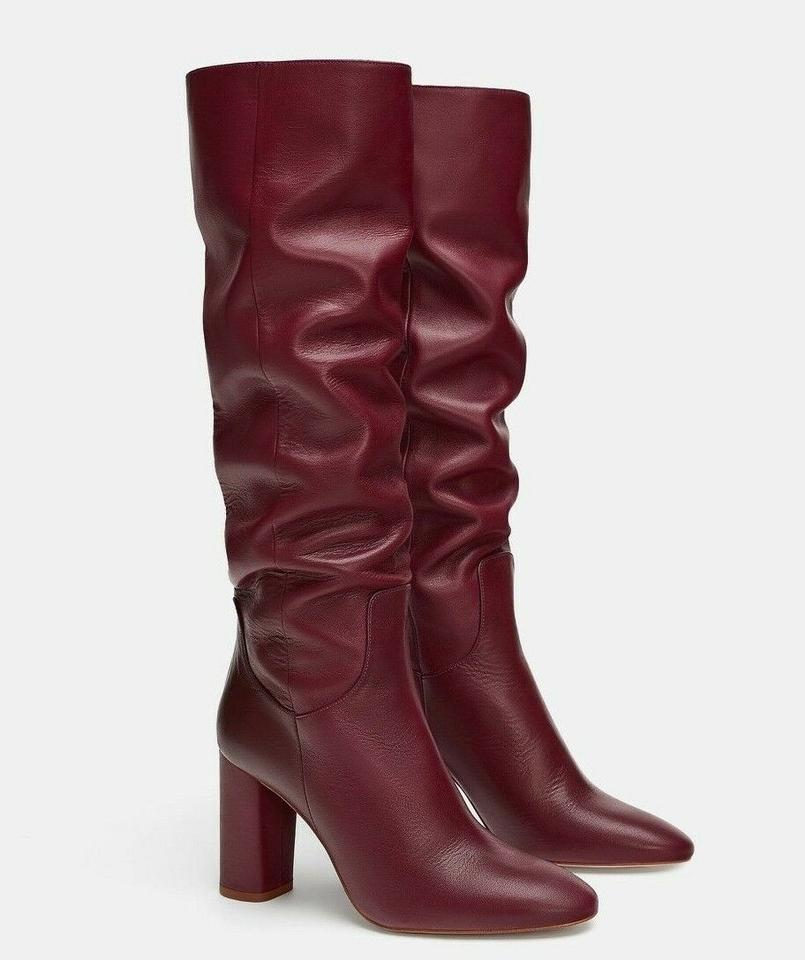 highly coveted range of professional many styles Zara Red Burgundy New Slouchy Leather Tall 37 Boots/Booties Size US 6.5  Regular (M, B)