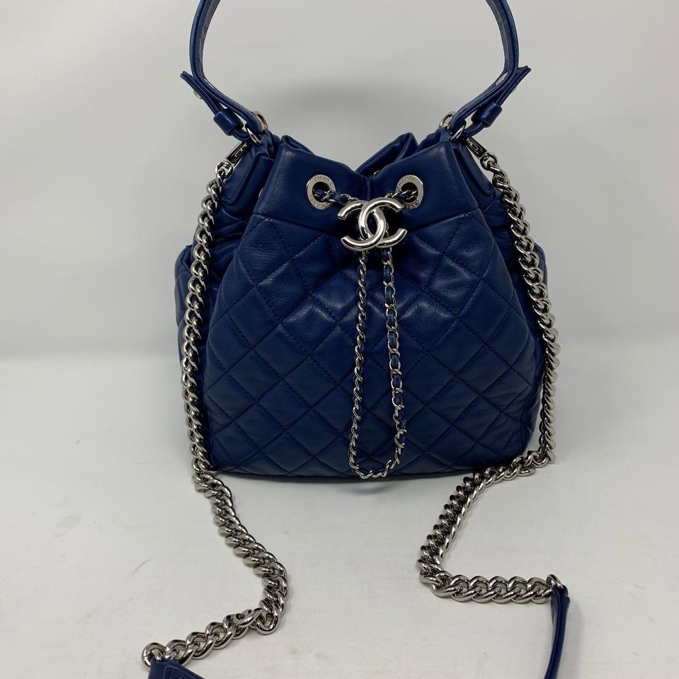 a3e8dfa586f7 Chanel Drawstring Bucket Chain Blue Leather Cross Body Bag - Tradesy