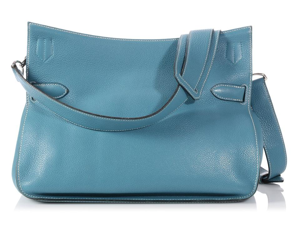 95a18de30b Hermès Jypsiere 34 Clemence Jean Blue Leather Cross Body Bag - Tradesy