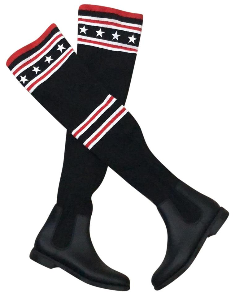 e0fc7f1c7 Givenchy Black and Red Storm Over The Knee Sock Boots/Booties Size ...