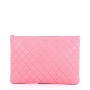8d75dd83546c Chanel Clutch Case Quilted Caviar Large Pink Leather Clutch - Tradesy