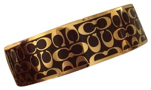 Coach 1941 3/4 inch Signature Bangle Brown/Gold