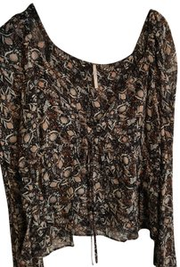 Free People Top Black with red/orange flowers